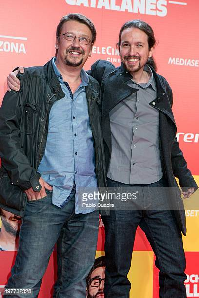 Spain's antistablishment Podemos leader Pablo Iglesias attends the 'Ocho Apellidos Catalantes' Premiere at capitol Cinema on November 18 2015 in...