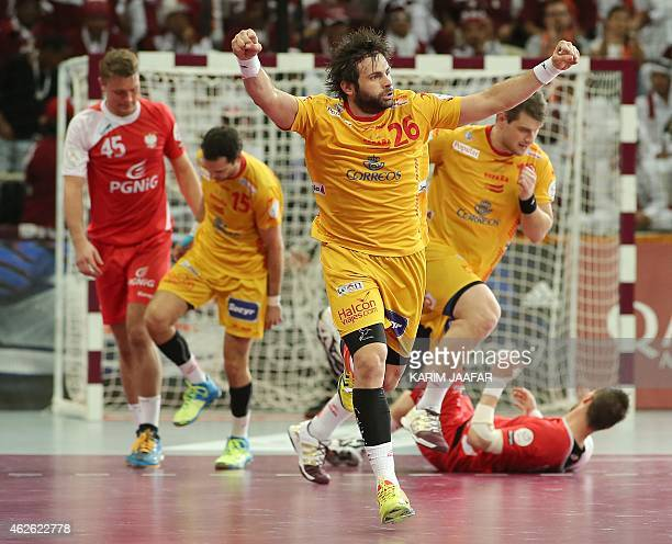 Spain's Antonio Jesus Garcia celebrates a goal during the 24th Men's Handball World Championships 3rd place match between Poland and Spain at the...