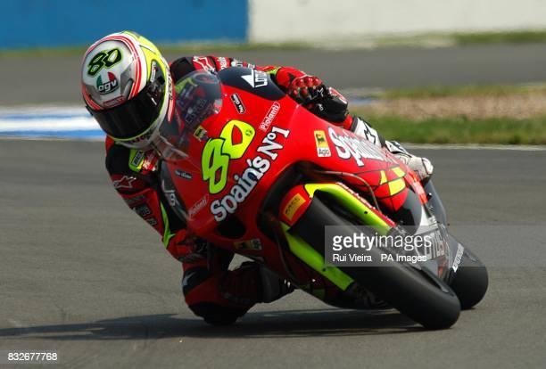 Spain's Aprilia rider Hector Barbera during the 250cc race