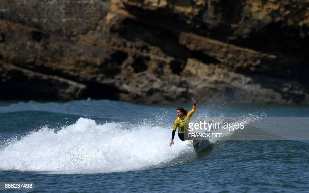 Spain's Ariane Ochoa competes in the heats 40 Round 2 on May 21 2017 in Biarritz southwestern France during the 2017 ISA World Surfing Games The...