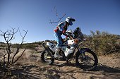 TOPSHOT Spain's Armand Monleon powers his KTM during the Stage 9 of the 2016 Dakar Rally around Belen Argentina on January 12 2016 AFP PHOTO / FRANCK...