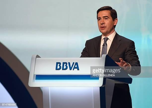Spain's bank Bilbao Vizcaya Argentaria CEO Carlos Torres speaks during the bank's general shareholders meeting in Bilbao north of Spain on March 11...