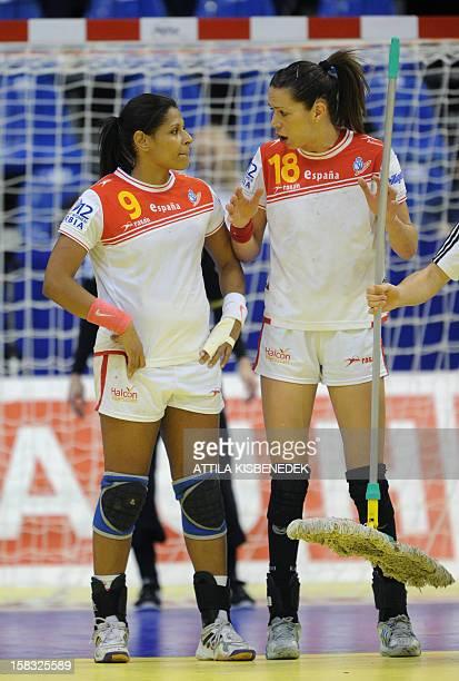 Spain's Begona Fernandez and Marta Mangue speak during the 2012 EHF European Women's Handball Championship Group II main round match against...
