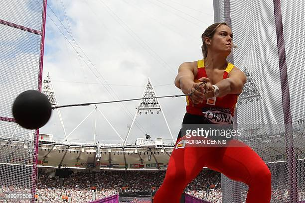 Spain's Berta Castells competes in the women's hammer throw qualifications at the athletics event of the London 2012 Olympic Games on August 8 2012...