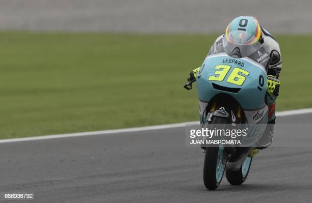 Spain's biker Joan Mir rides his Honda to win the Moto3 race of the Argentina Grand Prix at Termas de Rio Hondo circuit in Santiago del Estero...