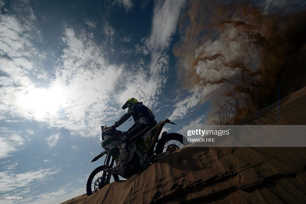 Spain's biker Miguel Puertas Herrera competes in the Stage 6 of the 2013 Dakar Rally between Arica and Calama, Chile, on January 10, 2013. The rally is taking place in Peru, Argentina and Chile from January 5 to 20.