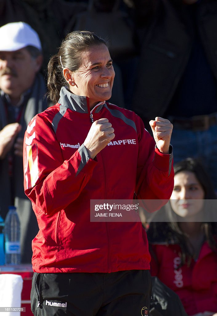 Spain's captain Conchita Martinez celebrates Spain's Silvia Soler's victory at the end of the International Tennis Federation Fed Cup World Group 2 match Soler vs Ukraine's Lesia Tsurenko in Alicante on February 9, 2013. Soler won 7-5, 6-4.
