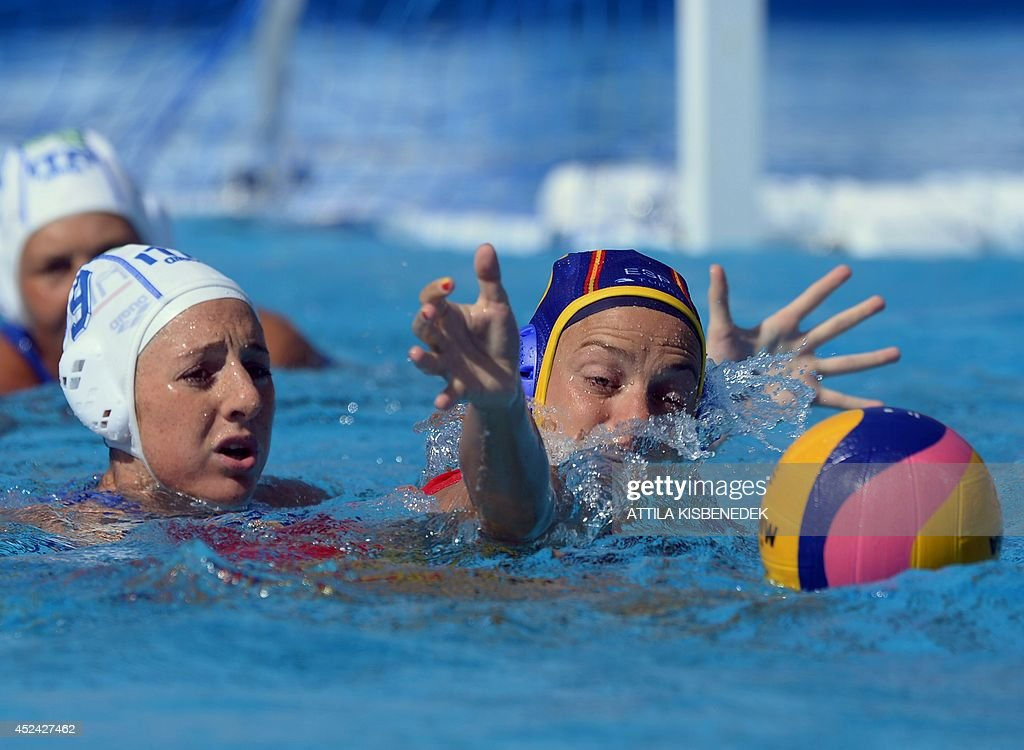 Spain's captain Jennifer Pareja Lisalde fights for the ball with Italy's Giulia Enrica Emmolo during the women's Water Polo European Championships...