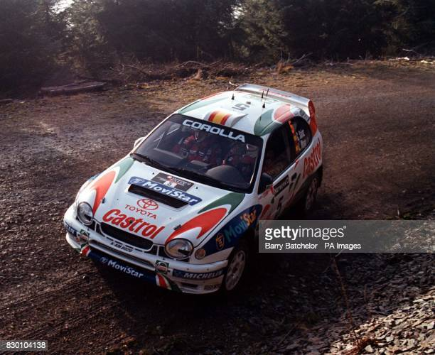 Spain's Carlos Sainz in his Toyota on the Esgair Dafydd Stage of the Network Q Rally today 23 November 1998 Photo Barry Batchelor/PA
