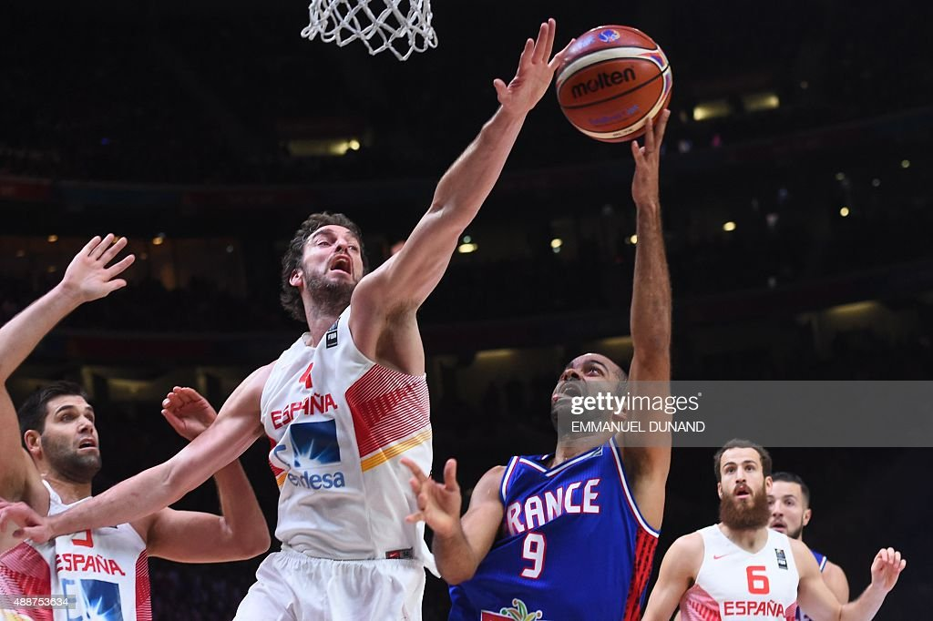 Spain's center Pau Gasol defends against France's point guard Tony Parker during the semifinal basketball match between Spain and France at the...
