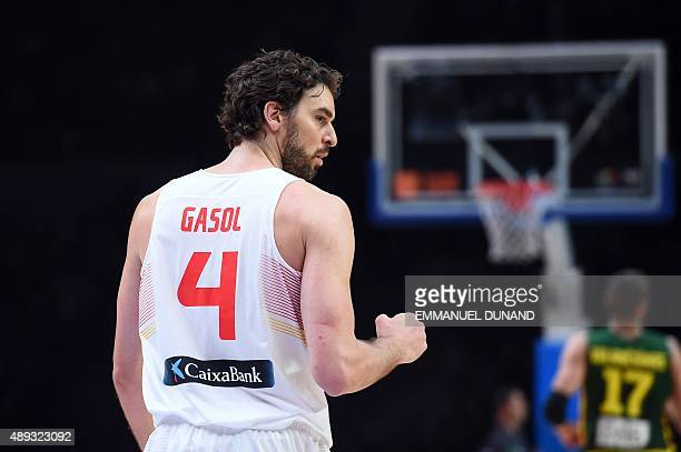 Spain's center Pau Gasol reacts during the final basketball match between Spain and Lithuania at the EuroBasket 2015 in Lille northern France on...