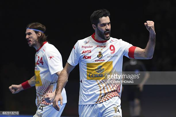 TOPSHOT Spain's centre back Raul Entrerrios celebrates a goal during the 25th IHF Men's World Championship 2017 eighth final handball match Brazil vs...