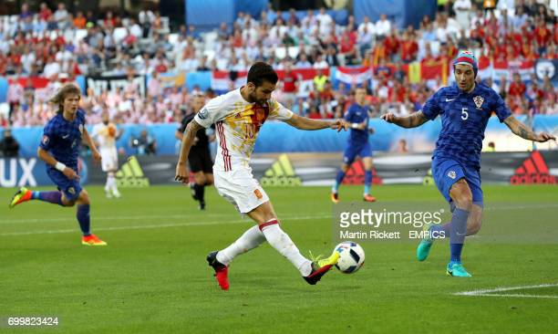 Spain's Cesc Fabregas provides the assist for Alvaro Morata's first goal of the game