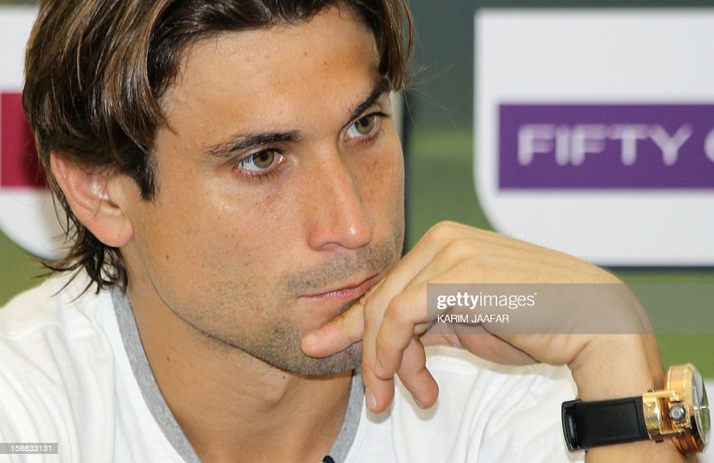 Spain's champion David Ferrer attends a press conference on the first day of the 2013 ATP Qatar Open in Doha on December 31, 2012.