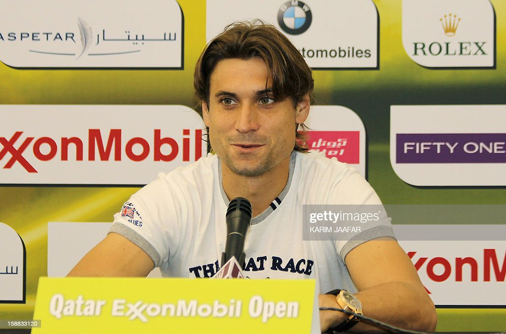 Spain's champion David Ferrer speaks during a press conference on the first day of the 2013 ATP Qatar Open in Doha on December 31, 2012.