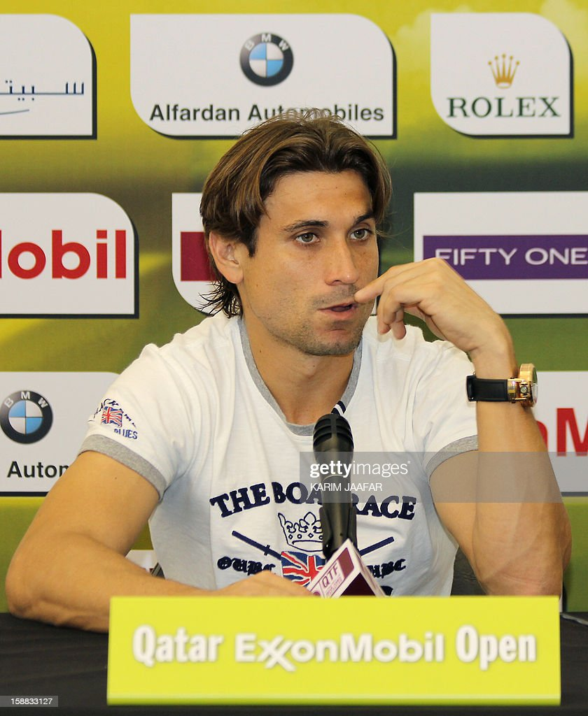 Spain's champion David Ferrer speaks during a press conference on the first day of the 2013 ATP Qatar Open in Doha on December 31, 2012. AFP PHOTO / AL-WATAN DOHA / KARIM JAAFAR == QATAR OUT ==