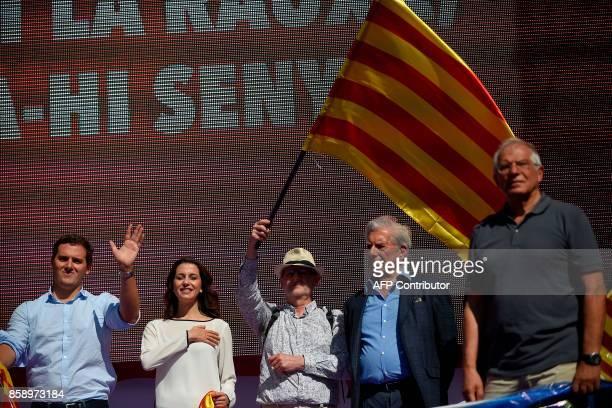 Spain's Ciudadanos centrist party leader Albert Rivera Ciudadanos political party representatives Ines ArrimadasPeruvian writer Mario Vargas Llosa...