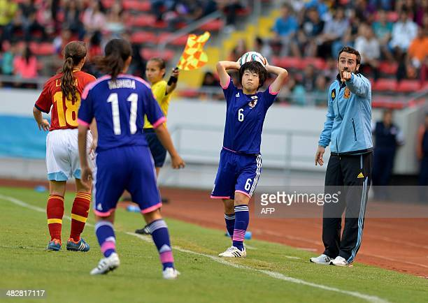 Spain's coach Jorge Vilda gives instructions to his players during their FIFA U17 Women's World Cup Costa Rica 2014 final match against Japan at the...