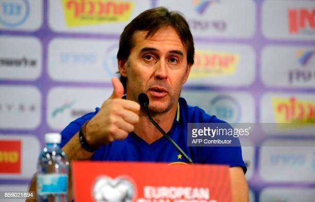 Spain's coach Julen Lopetegui gestures during a press conference at the Teddy stadium in Jerusalem on October 8 a day ahead of the team's FIFA World...
