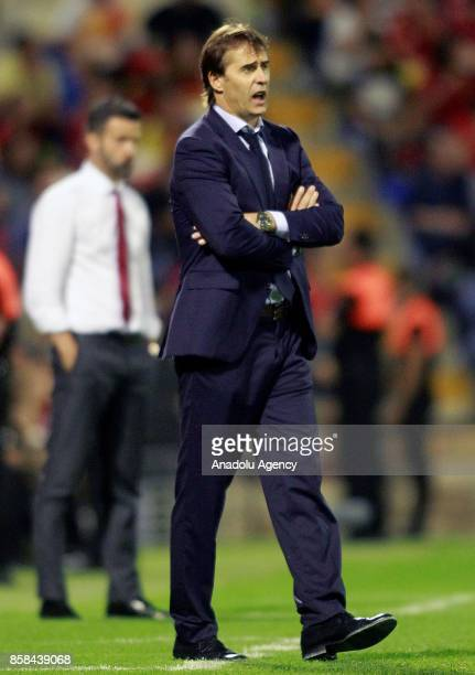 Spain's coach Julen Lopetegui gestures during the FIFA 2018 World Cup Qualifier between Spain and Albania at Rico Perez Stadium on October 6 2017 in...