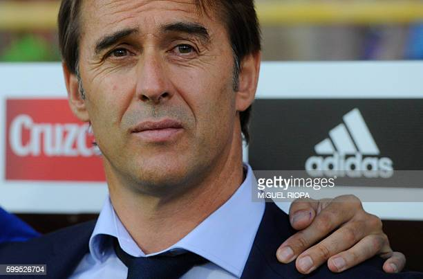 Spain's coach Julen Lopetegui looks on before the WC 2018 football qualification match between Spain and Liechtenstein at the Reyno de Leon Stadium...