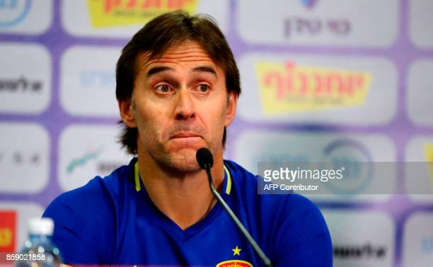 Spain's coach Julen Lopetegui reacts during a press conference at the Teddy stadium in Jerusalem on October 8 a day ahead of the team's FIFA World...