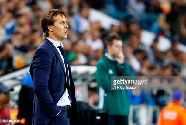 Spain's coach Julen Lopetegui reacts during the Russia 2018 FIFA World Cup European Group G qualifying football match between Israel and Spain at...