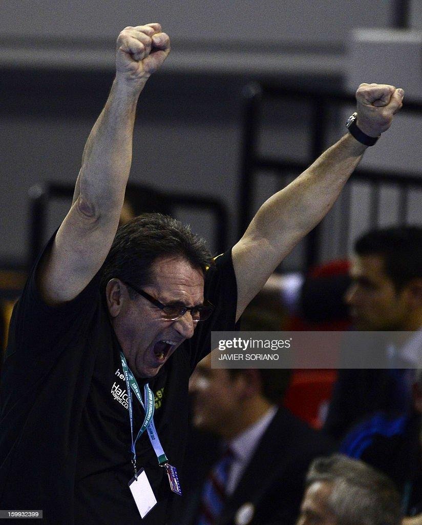 Spain's coach Valero Rivera celebrates a goal during the 23rd Men's Handball World Championships quarterfinal match Spain vs Germany at the Pabellon...