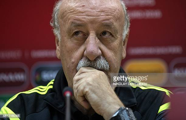 Spain's coach Vicente del Bosque gives a press conference at the Filip II Arena stadium in Skopje on September 7 on the eve of the Euro 2016...