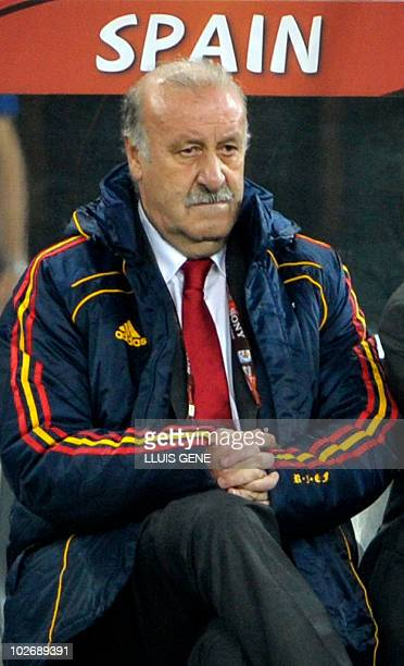 Spain's coach Vicente Del Bosque reacts the 2010 World Cup semifinal football match between Germany and Spain on July 7 2010 at Moses Mabhida Stadium...