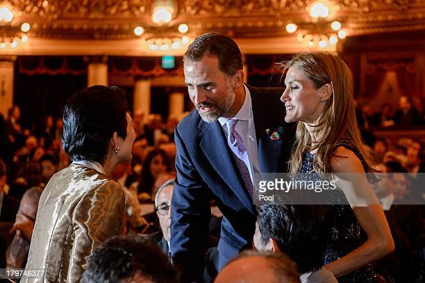 Spain's Crown Prince Felipe and Princess Letizia talk with Japanese Crown Princess Masako prior to the opening ceremony of the 125th session of the...