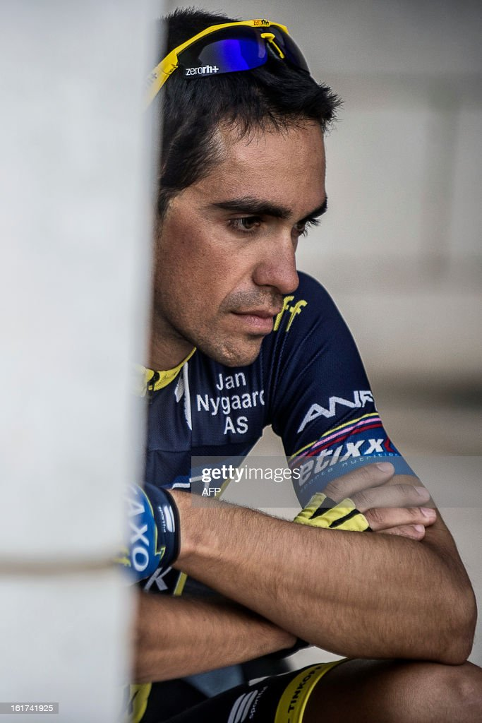 Spain's cyclist Alberto Contador of Saxo-Tinkoff team sits waiting for the start of the fifth stage of the cycling Tour of Oman on February 15, 2013, in the Omani capital Muscat. The fifth stage is a 144km ride from Al Alam Palace in Muscat to the Ministry of Housing in Boshar.