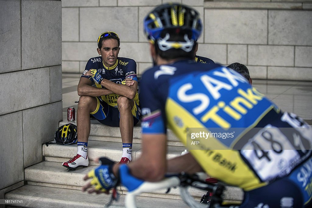 Spain's cyclist Alberto Contador of Saxo-Tinkoff team waits for the start of the fifth stage of the cycling Tour of Oman on February 15, 2013, in the Omani capital Muscat. The fifth stage is a 144km ride from Al Alam Palace in Muscat to the Ministry of Housing in Boshar.
