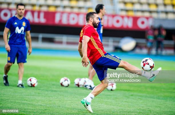 Spain's Dani Carvajal takes part in a training session in Skopje on June 10 on the eve of the FIFA World Cup 2018 qualification football match...