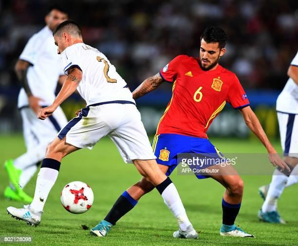 Spain's Dani Ceballos and Italy's Davide Calabria vie for the ball during the UEFA U21 European Championship football semi final match Spain v Italy...