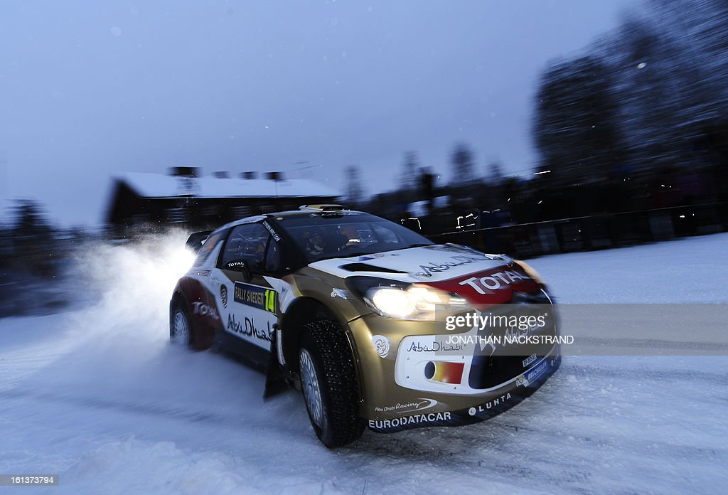 Spain's Daniel Sordo and his co-driver Carlos Del Barrio steer their Citroen DS3 WRC during Mitandersfors stage, the 17th of Rally Sweden, second round of the FIA World Rally Championship on February 10, 2013 on the border to Norway near Torsby, north of Karlstad, Sweden.