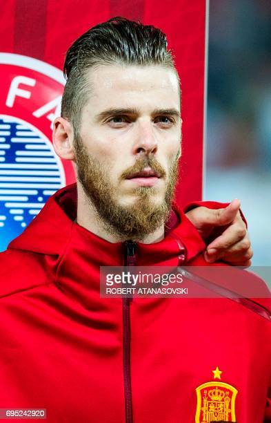 Spain's David de Gea looks on prior to the FIFA World Cup 2018 qualifying football match betyween Macedonia and Spain at Philip II of Macedon stadium...