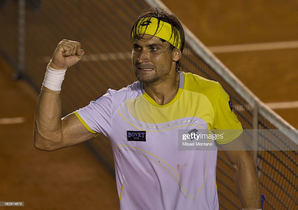 Spain´s <a gi-track='captionPersonalityLinkClicked' href=/galleries/search?phrase=David+Ferrer&family=editorial&specificpeople=208197 ng-click='$event.stopPropagation()'>David Ferrer</a> celebrates after winning a match against Italy´s Fabio Fognini during the Acapulco Tennis Open in the Pacific resort in Acapulco, Monday, March 1, 2013