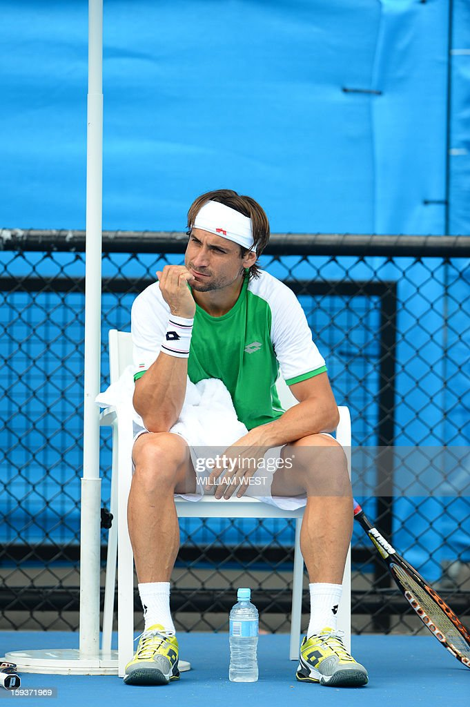 Spain's David Ferrer looks on during a practice session ahead of the 2013 Australian Open tennis tournament in Melbourne on January 13, 2013.