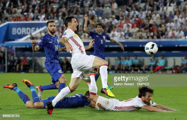 Spain's David Silva is awarded a penalty after a foul from Croatia's Sime Vrsaljko