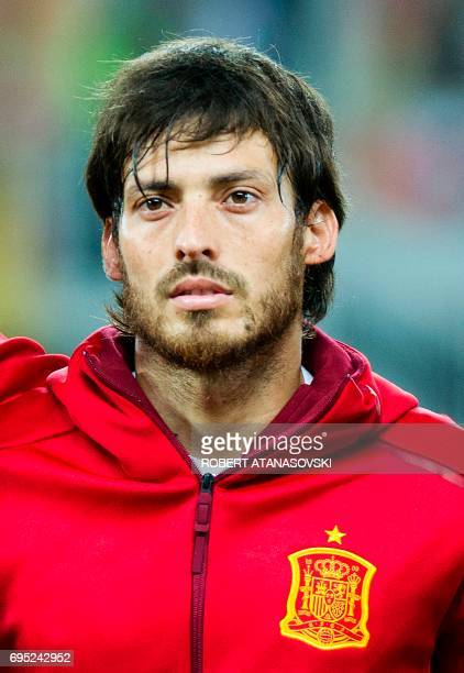 Spain's David Silva looks on prior to the FIFA World Cup 2018 qualifying football match betyween Macedonia and Spain at Philip II of Macedon stadium...