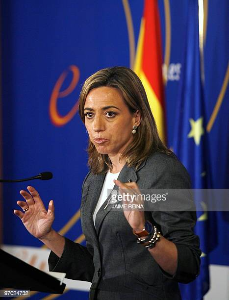 Spain's Defence Minister Carme Chacon gives a press conference during the Informal Meeting of Defence Minister on February 24 2010 in Palma de...