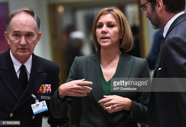 Spain's Defence Minister Maria Dolores de Cospedal attends a foreign/defence affairs council at the European Council in Brussels on November 13 2017...