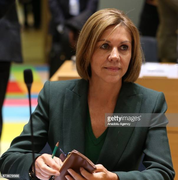 Spain's Defence Minister Maria Dolores de Cospedal attends a Foreign/Defence Affairs Council at the European Council in Brussels Belgium on November...