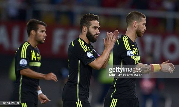 Spain's Defender Dani Carvajal celebrates after winning the Euro 2016 Group C qualifying football match against Macedonia at the Filip II Arena...