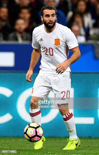 Spain's defender Daniel Carvajal controls the ball during the friendly football match France vs Spain on March 28 2017 at the Stade de France stadium...