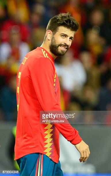 Spain's defender Gerard Pique looks on during the international friendly football match Spain against Costa Rica at La Rosaleda stadium in Malaga on...