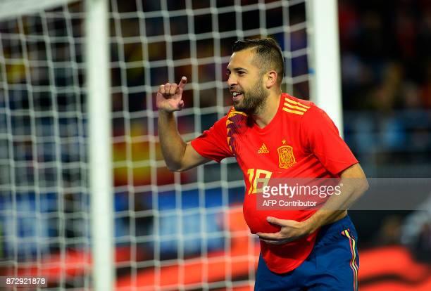 Spain's defender Jordi Alba celebrates after scoring a goal during the international friendly football match Spain against Costa Rica at La Rosaleda...