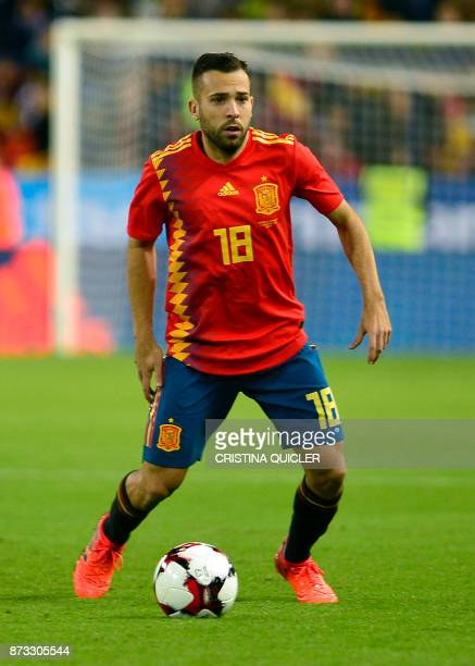 Spain's defender Jordi Alba controls the ball during the international friendly football match Spain against Costa Rica at La Rosaleda stadium in...
