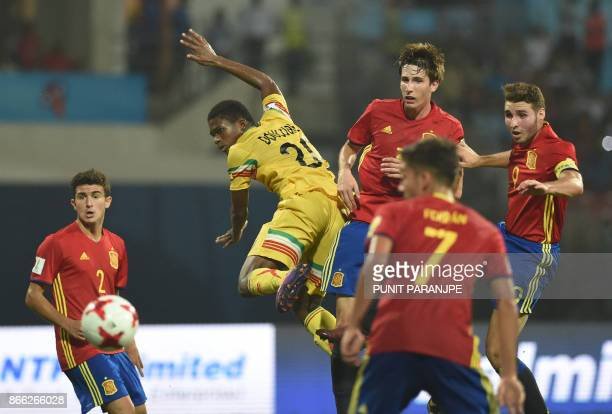 Spain's defender Mateu Jaume Mali's midfielder Cheick Oumar Doucoure Spain's defender |Juan Miranda Spain's forward Ferran Torres and Spain's forward...